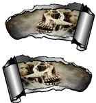 Small Pair Ripped Torn Metal Gash Design & Skull With Cobwebs Vinyl Car Sticker 93x50mm each